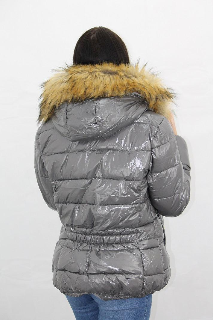 Grey Shiny Wetlook Faux Fur Hood Puffer Jacket Zara
