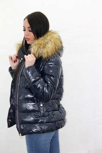 Navy Blue Shiny Wetlook Faux Fur Hood Puffer Jacket - Camila - Storm Desire