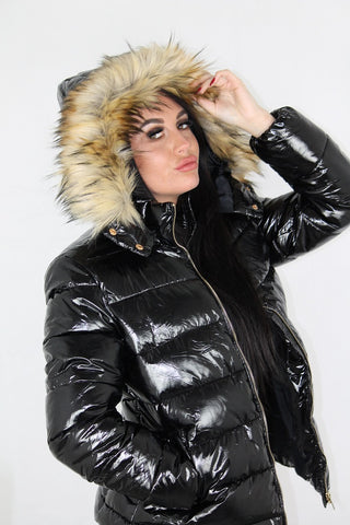 Black Shiny Wetlook Faux Fur Hood Puffer Jacket - Camila - storm desire