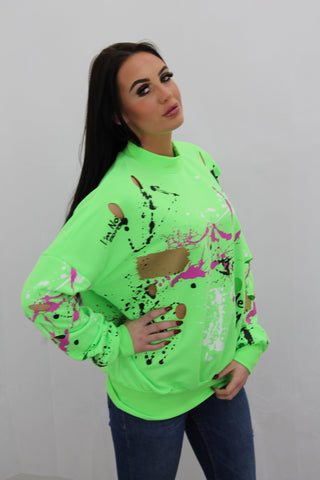 Kids Neon Green Paint Splash Graffiti Jumper Gemma - Storm Desire