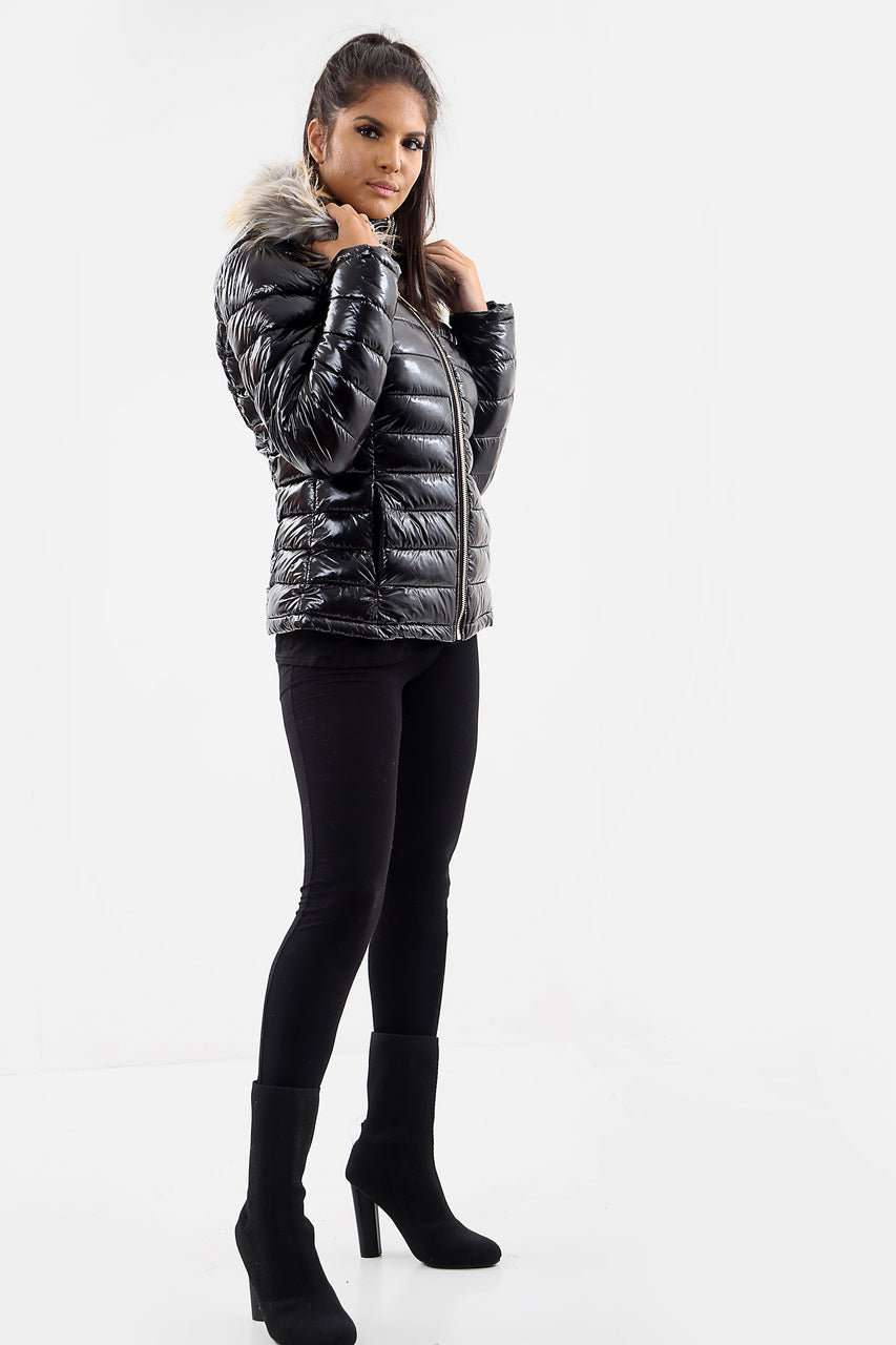 Black Shiny Wetlook Faux Fur Hood Puffer Jacket - Amari