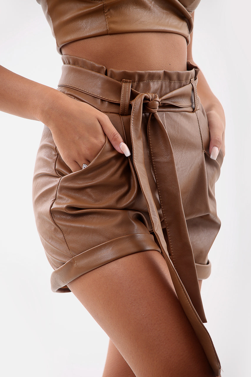 Tan Belted Faux Leather Turn Up Shorts - Ainsley