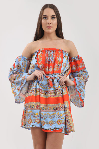 Orange Blue Baroque Print Bandeau Dress - Vanessa