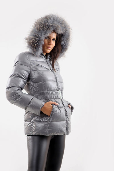 Grey Shiny Wetlook Belted Natural Real Fur Hood Quilted Puffer Jacket - Klein