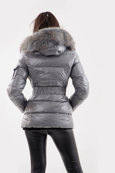 Grey Shiny Natural Fur Hooded Puffer Jacket - Aria