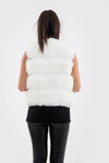 Cream Faux Fur Panel Gilet - Julia