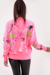 Neon Pink Paint Splash Graffiti Jumper - Gemma
