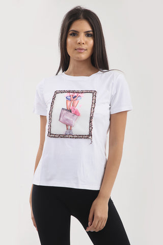 White Fashion Bag Applique T-Shirt Top - Rose