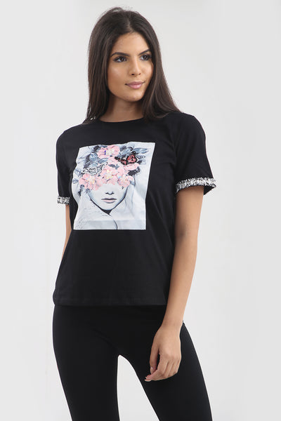 Black flower pink sequin t-shirt top - Mary - storm desire