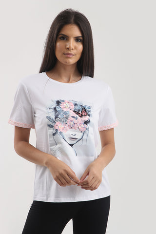 White flower pink sequin t-shirt top - Mary