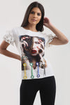White Face Stud Frill T-shirt Top - Lyla