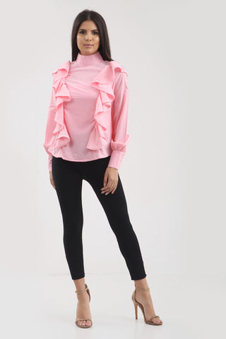 Pink Ruffle Frill High Neck Shirt Top - Alexandra