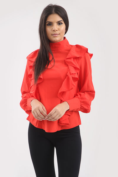 Red Ruffle Frill High Neck Shirt Top - Alexandra