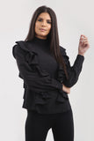 Black Ruffle Frill High Neck Shirt Top - Alexandra - storm desire