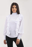 White Ruffle Frill High Neck Shirt Top - Alexandra