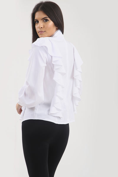 White Ruffle Frill High Neck Shirt Top - @danyahila