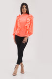 Coral Ruffle Frill High Neck Shirt Top - Alexandra - storm desire