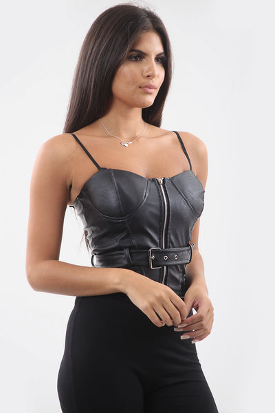 Black Faux Leather Bustier Belted Top - Esmeralda
