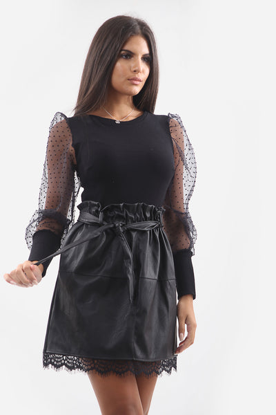 Black Leather Paper bag Lace Mini Skirt -Allie
