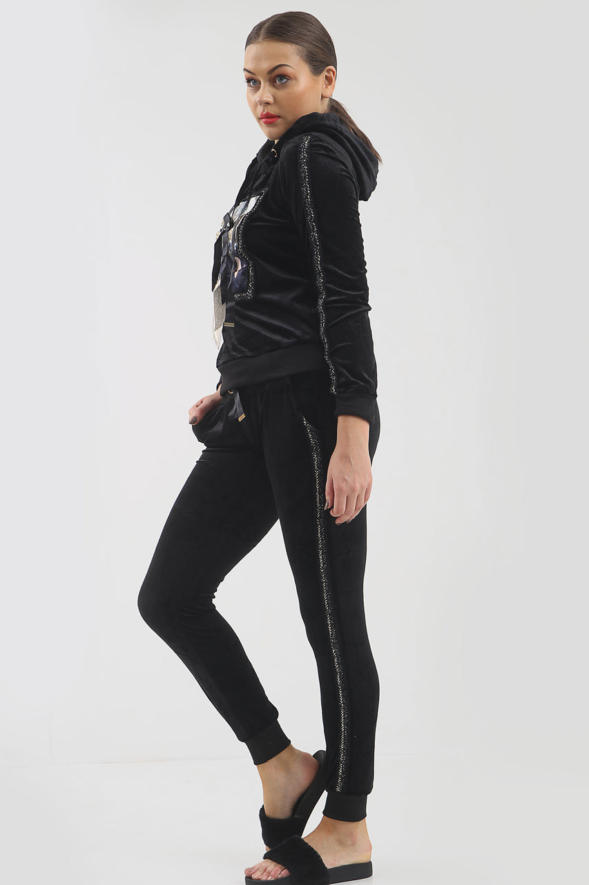 Black Sequin Bow Velour Hooded Tracksuit - Lucille - storm desire
