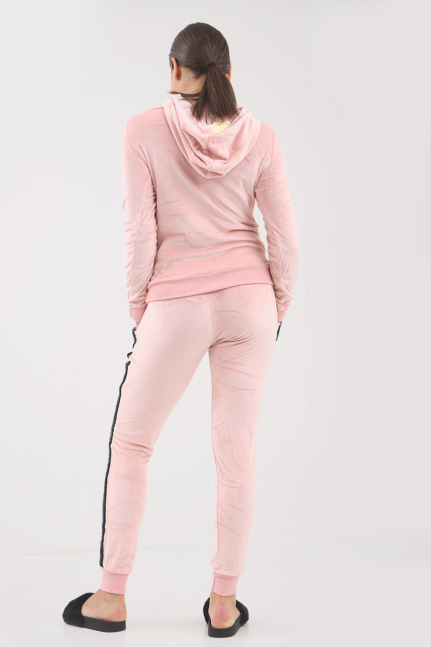 Pink Sequin Bow Velour Hooded Tracksuit - Lucille