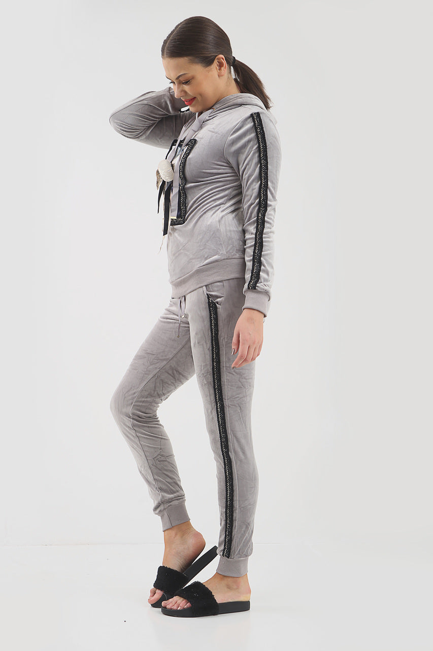 Grey Sequin Bow Velour Hooded Tracksuit - Lucille