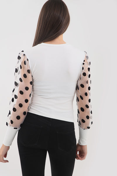 White Polka Dot Mesh Sleeve Ribbed Top - Elise