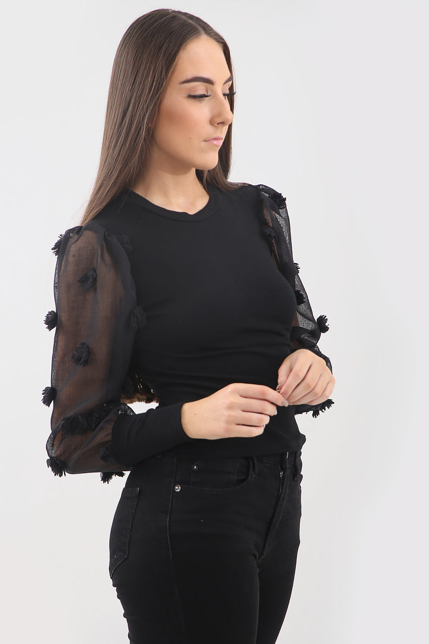 Black Organza Pom Pom Sleeve Ribbed Top - Carolina