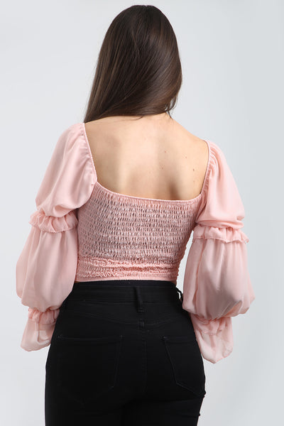 Pink Ruched Bustier Crop Top - Kamila