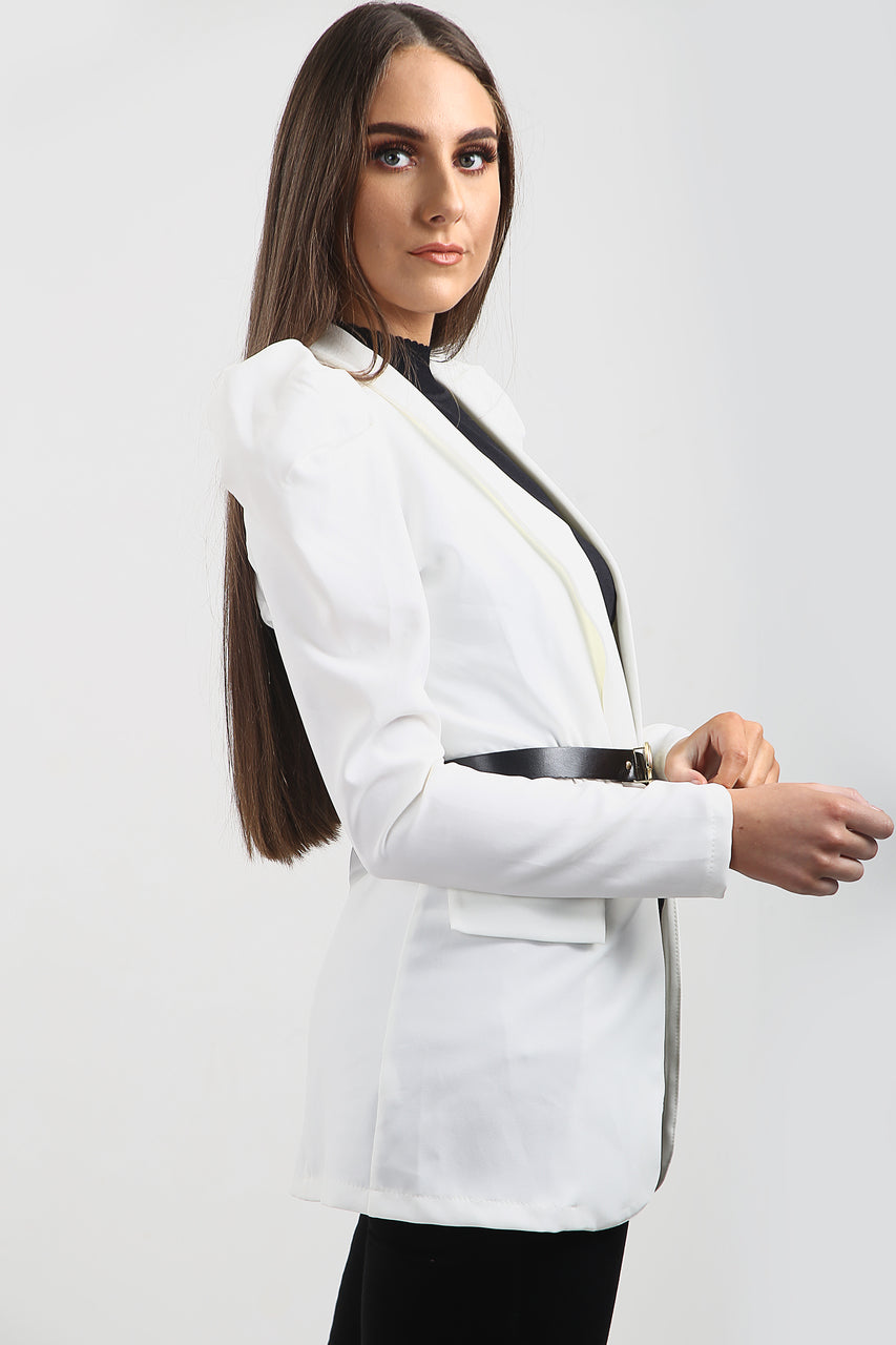 Off White Belted Puff Sleeve Blazer Jacket - Sienna