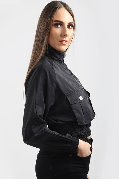 Kids Black Festival Wind Breaker Crop Jacket - Emma