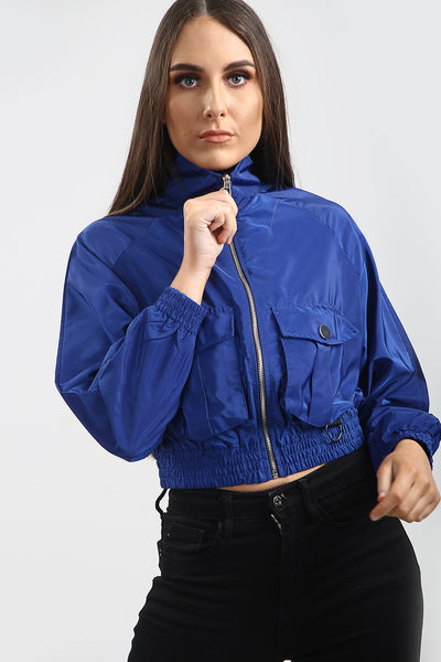 Royal Blue Festival Wind Surfer Crop Jacket - Emma