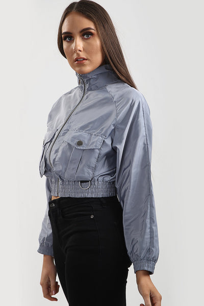 Grey Festival Wind Surfer Crop Jacket - Emma