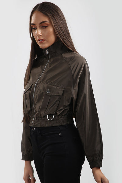 Khaki Green Festival Wind Breaker Crop Jacket - Emma