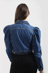 Dark Denim Distressed Puff Sleeve Denim Jacket - Penelope
