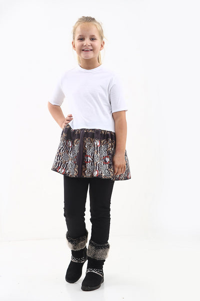 Kids White Baroque Print Frill Hem Top - Jasmine