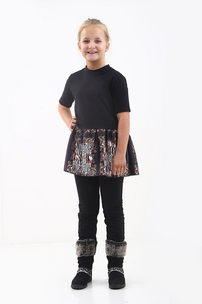Kids Black Baroque Print Frill Hem Top - Jasmine
