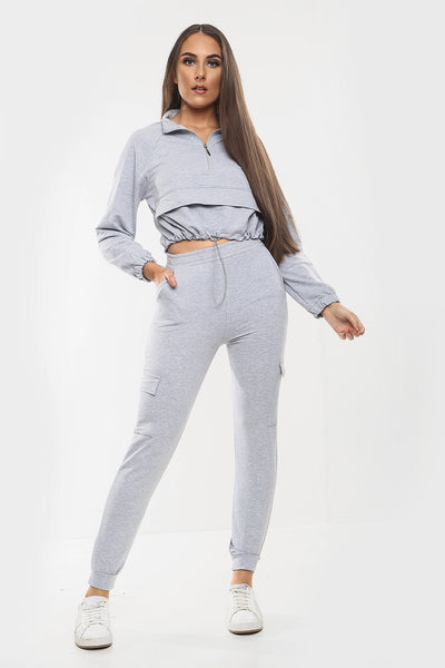 Grey Zip Crop Top & Pants Co-ord Set - Shelby