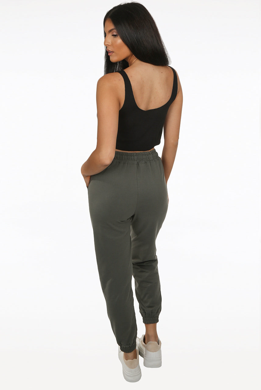 Khaki Green Slim Fit Jogger Pants - Stephanie