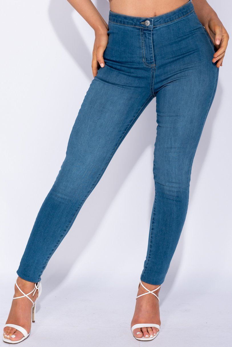 Denim High Waisted Jeans - Kennedy - storm desire