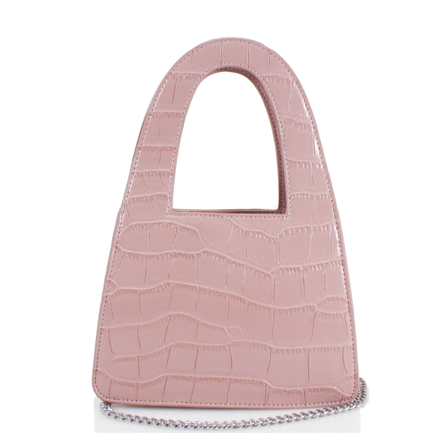 Pink Reptile Handle Tote Bag - Alayah