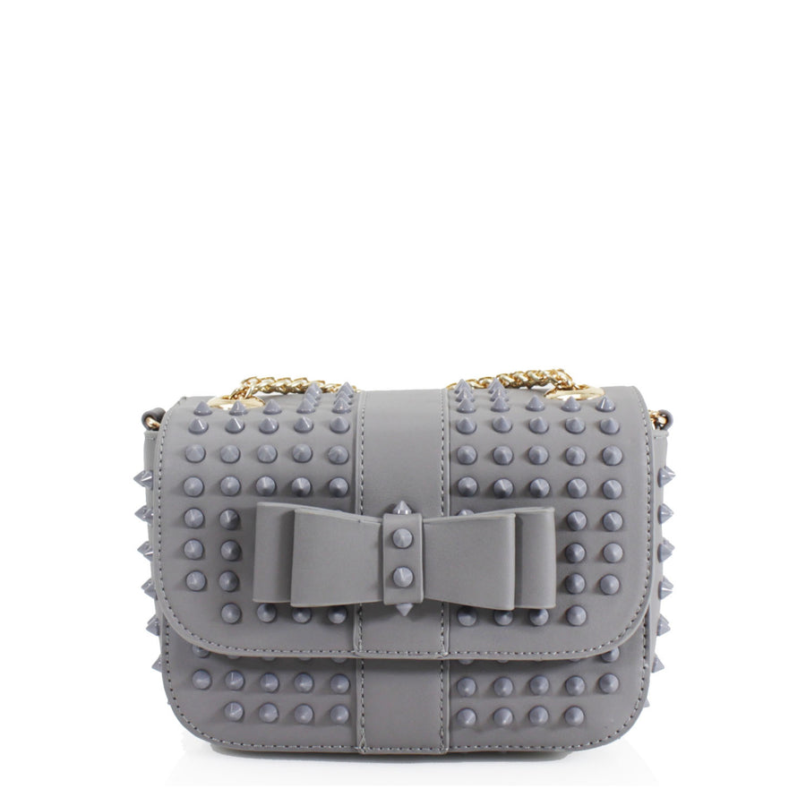 Grey Studded Black Bow Bag - Angel