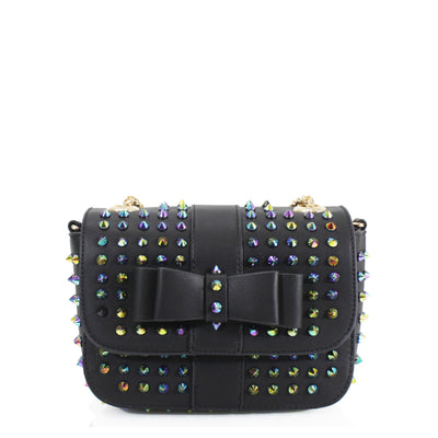 Multicolored Studded Black Bow Bag - Angel