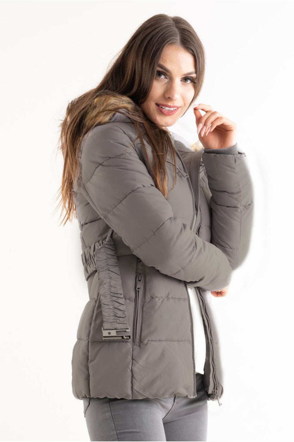 Grey Belted Faux Fur Hood Quilted Puffer Jacket - Gracie