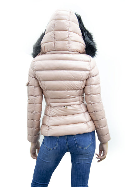 Baby Pink Shiny Black Faux Fur Hood Quilted Puffer Jacket - Jade
