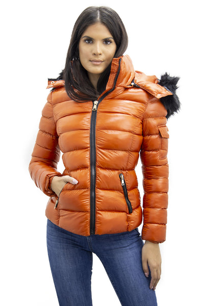 Rust Orange Shiny Black Faux Fur Hood Quilted Puffer Jacket - Jade