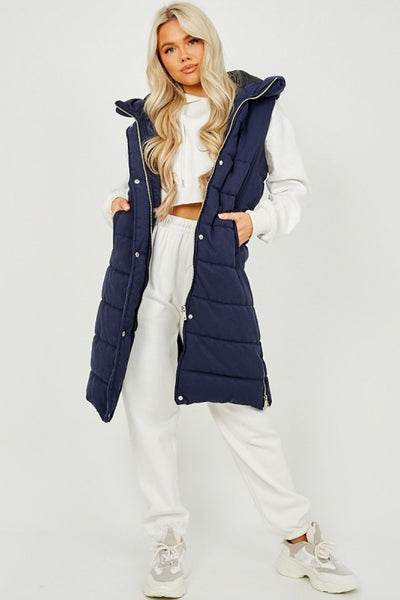 Navy Blue Longline Padded Hooded Gilet - Jayla