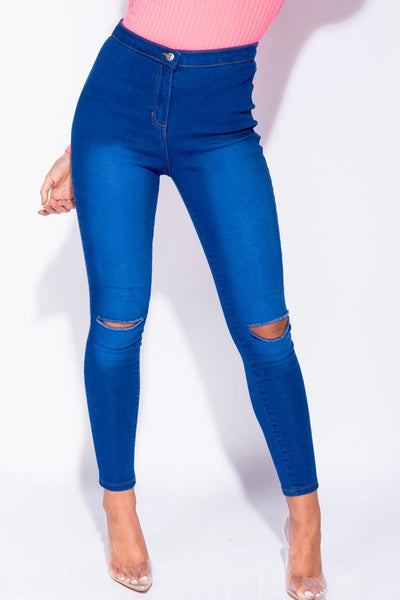 Bright Blue Ripped Knee Faded Skinny Jeans - @xsarah_k