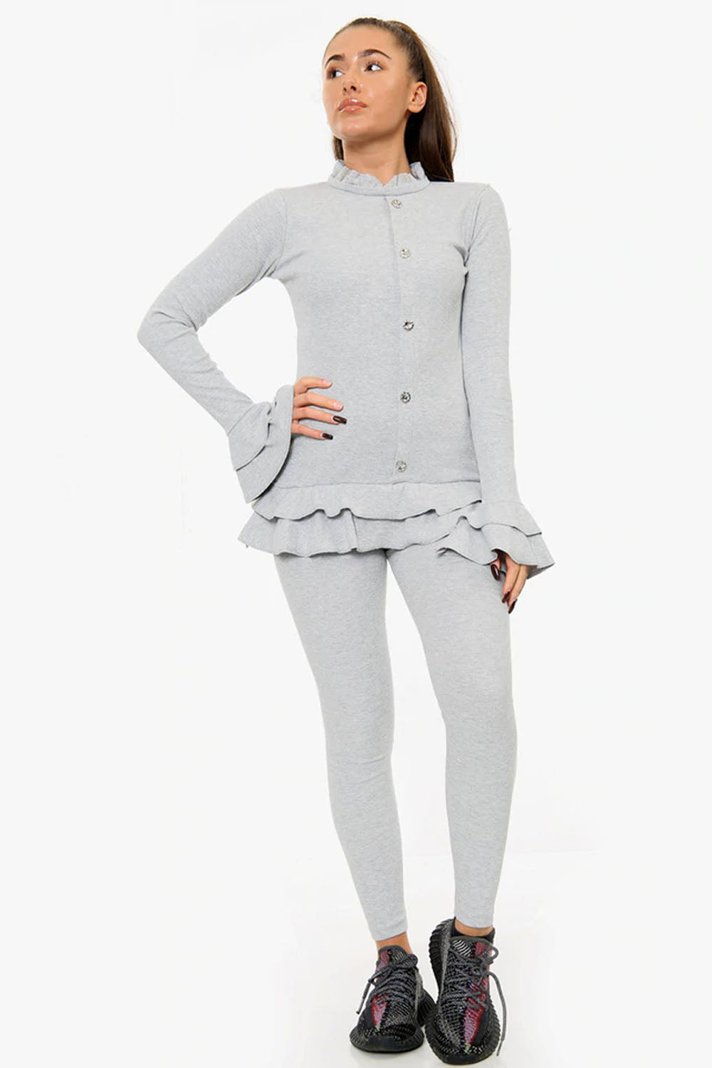 GREY FRILL HEM RIBBED LOUNGE WEAR SET - Jessie