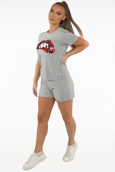Grey Sequin Lips Shorts & Tops Set - Naomi